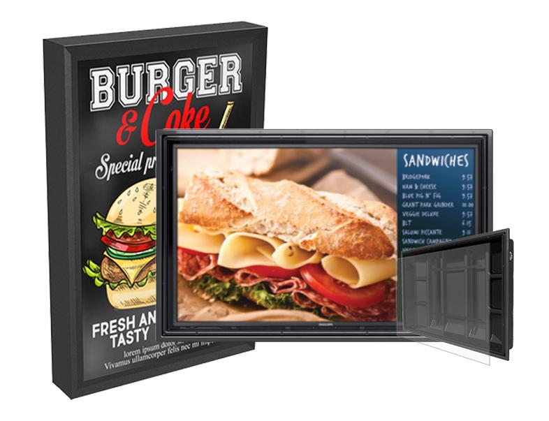 Video Digital Drive Thru Menu Boards & Outdoor Menu Displays - The TV Shield PRO and The Display Shield